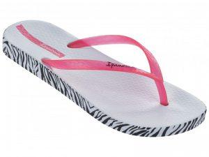 Ipanema Zehentrenner Zebra Muster in weiss mit pinkfarbenen Riemchen